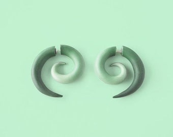 Green Spiral Fake Gauge Earrings