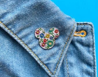 Floral pin, mickey pin, disney, colorful, brooch, minnie ears, enamel pins, lapel pin