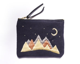 Small hand embroidered coin purse - the mountains