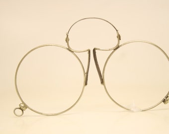 Antique Silver Tone Spring Bridge Pince Nez Eyeglasses