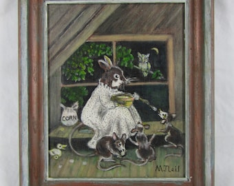 Charming painting of mother mouse feeding her 3 baby mice