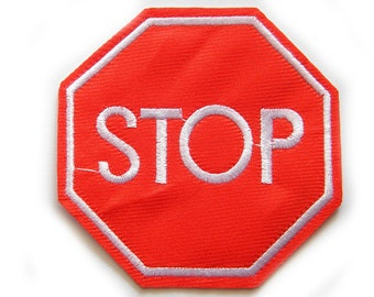 Embroidered Stop Sign Patch Appliqué