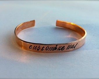 Custom Hand Stamped Bracelet, Personalized Quote, Copper or Aluminum