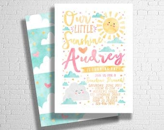 Sunshine Birthday Invitation | You Are My Sunshine Birthday | Our Little Sunshine | Spring Birthday Theme | DIGITAL FILE ONLY