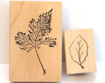 set of two leaf stamps