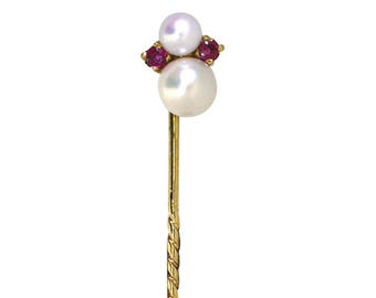 Pearl & Ruby Stick Pin
