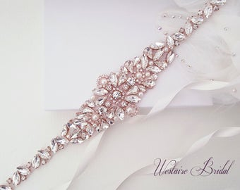 Wedding Belt, Pearl Bridal Belt, Beaded Bridal Sash, Beaded Wedding Belt, Silver, Rose Gold - Style 786