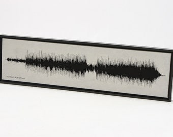 Hotel California - Music on Canvas: Sound Wave Art Print of Music.  Gift for Musician, Artist, Band.