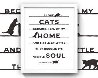 Cat Quote Print • 8x10 Wall Art • High Quality Giclée Print • Jean Cocteau / Literature / Literary Quotes