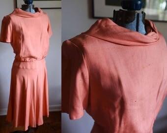 Small / Medium - Cute Peach Vintage Charles W Dress