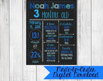Baby Boy Monthly Chalkboard Made to Order *DIGITAL FILE*