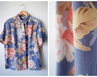 80s floral print blouse | M/L