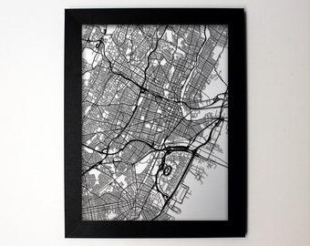 Newark New Jersey Laser Cut Map, Newark NJ Street Map, Newark Framed Map, Newark Wall Art, Newark Gift, Newark Decor, Newark Wedding