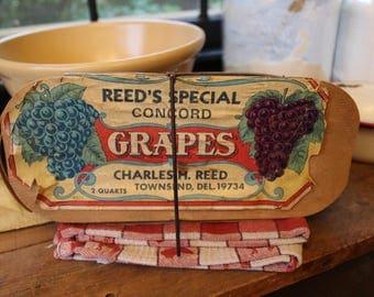 Vintage Fruit Basket, Farm Market Basket with Original Label, Reed's Grape Basket, Grape Box, Fruit Box, Fruit Container, Farmhouse Decor