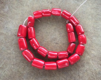 Full Strand Genuine Dyed Bright Red Coral Barrel Beads