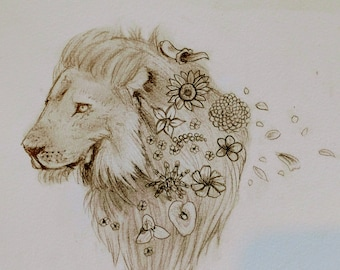 Whimsical Lion spring nursery zoo Art pencil art card greeting cards note cards