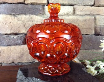 L.E. Smith Moon & Stars Amberina Lidded Candy Dish~Bowl