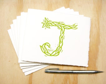 Letter J Stationery - READY TO SHIP - Personalized Gift - Set of 6 Block Printed Cards