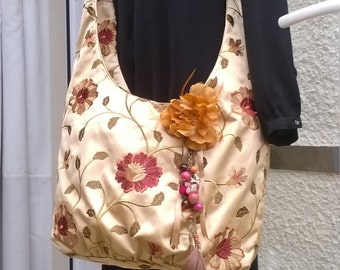 Stunning Hand Made Boho Bag, Shoulder Bag, Bold & Beautiful, Rich Old Gold Flowery Fabric bag with long strap