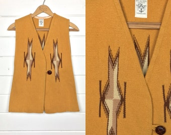 Vintage Ortega's Chimayo Woven Wool Vest / Mustard / Leather Buttons / Size S