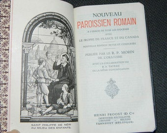 antique french. VINTAGE. New parishioner Roman comprehensive Turnhout .n1291, year 1937 RELIGION