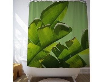 Banana Leaf Curtain, Shower Curtain, Tropical Shower Art, Bathroom Decor, Green Decor, Bath Gifts, Home Gift