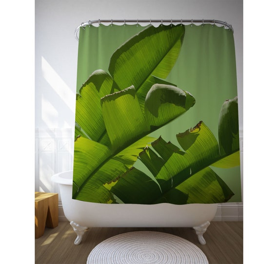 Banana Leaf Curtain, Shower Curtain, Tropical Shower Art, Bathroom Decor, Green Decor, Bath Gifts, Home Gift