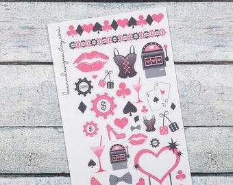 Vegas Bachelorette Deco, Las Vegas Weekend, Casinos and Gambling, Girls Trip, Decorative Planner Stickers