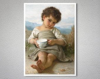 The Cup of Milk (La Tasse de Lait) 1879 by William Adolphe Bouguereau -  Poster Print, Sticker or Canvas Print