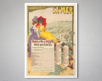 Excursions a La  Mer Vintage Travel Poster -  Art Print - Poster Print, Sticker or Canvas Print