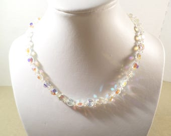 PROM/BRIDAL! Beautiful Vintage Gold Tone Crystal Aurora Borealis Faceted Beaded Choker Necklace, Gorgeous!  DL#3270