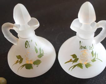 Anchor Hocking Satin Opaque Glass Oil and Vinegar Cruets - Hand Painted