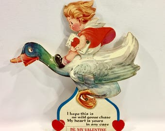 Vintage Valentines Day Card, Mechanical Valentine, Girl Riding Goose, Used, Moveable Valentine, Large Valentine, Circa 1930s