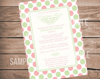 Cute Girl Baby Shower Invitation, Pink Baby Girl Shower Invitation, Polka Dots, Printable Invite