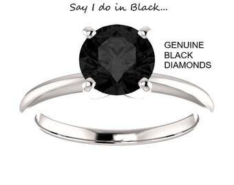 SALE!! 1.00 Carat  Ideal Cut Round Brilliant Genuine Black Diamond Solitaire Ring