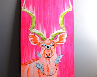 Neon pink, neon orange and neon green kudu deer original acrylic painting. True neon painting. Original artwork. Colorful art. 30x48 inches
