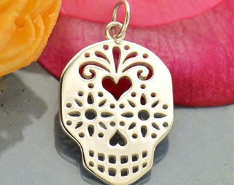 Sterling Silver Sugar Skull Day of the Dead Charm.
