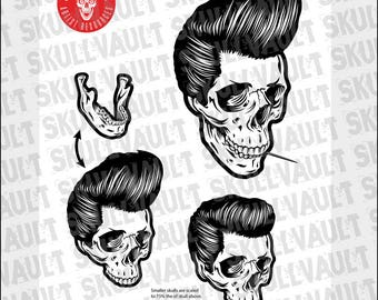 Rockabilly Skull Vector Illustration