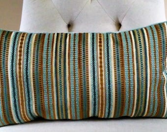 "Aqua Teal Brown Striped Chenille Pillow Cover Lumbar 10x19"" ON SALE!"