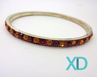 Stainless Steel Embellished Bangle, Red and Yellow Bangle, Bangle Bracelet, Lightweight Bracelet, Unique Bracelet, Handcrafted, Handmade