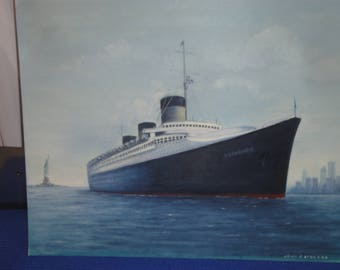 "Vintage Oceanliner ""Normandie"" Painting On Board/ Staute Of Liberty/ New York/ Signed John F. Leonard"