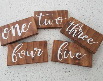 5 x Hand painted wooden table numbers - rustic wedding / event
