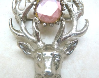 Vintage Scottish Style Stag Brooch By Hollywood.