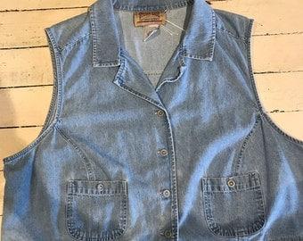 Vintage Denim Vest Plus Size