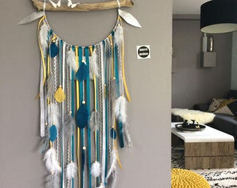 Dream catcher Driftwood color mustard and blue duck