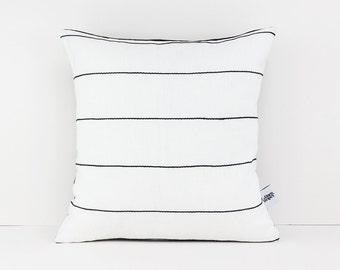 white throw pillow with black cotton stripes textured cushion white cushion monochrome cushion