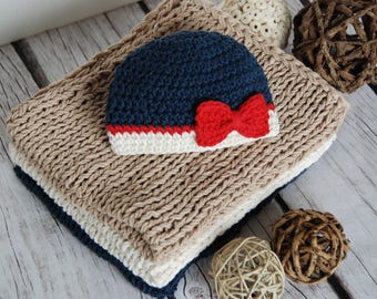 Photo prop nautical, 4th of July newborn girls hat, baby toddler girl beanie, hat with bow, hat for girls, girl accessory, red white blue