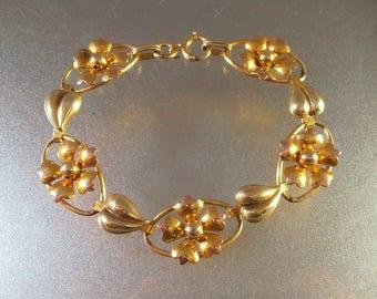 Carl Art Bracelet, 12K Gold Filled, 2 Tone, Yellow and Rose Gold, Flower Links