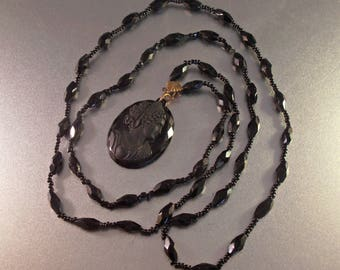 RESERVED Victorian Mourning Cameo Carved Jet Necklace, Antique Whitby Jet