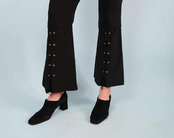 AMAZING Black High Waisted Flared Pants with Lace-Up Detailing!